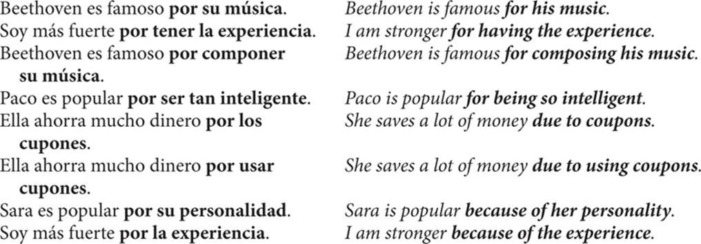 Para and por - PREPOSITIONS - Spanish Pronouns and